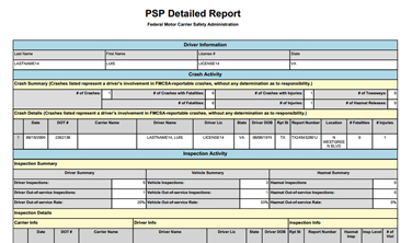 Feature: DOT PSP Reports