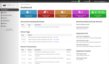 Screenshot: Driver Qualification Software Dashboard